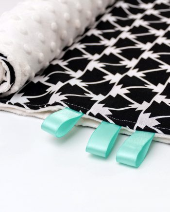 Trinity Black minky blanket with mint tags